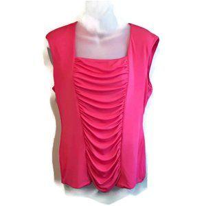 💜 Alfani Sleeveless Silk Blend Draped Panel Top